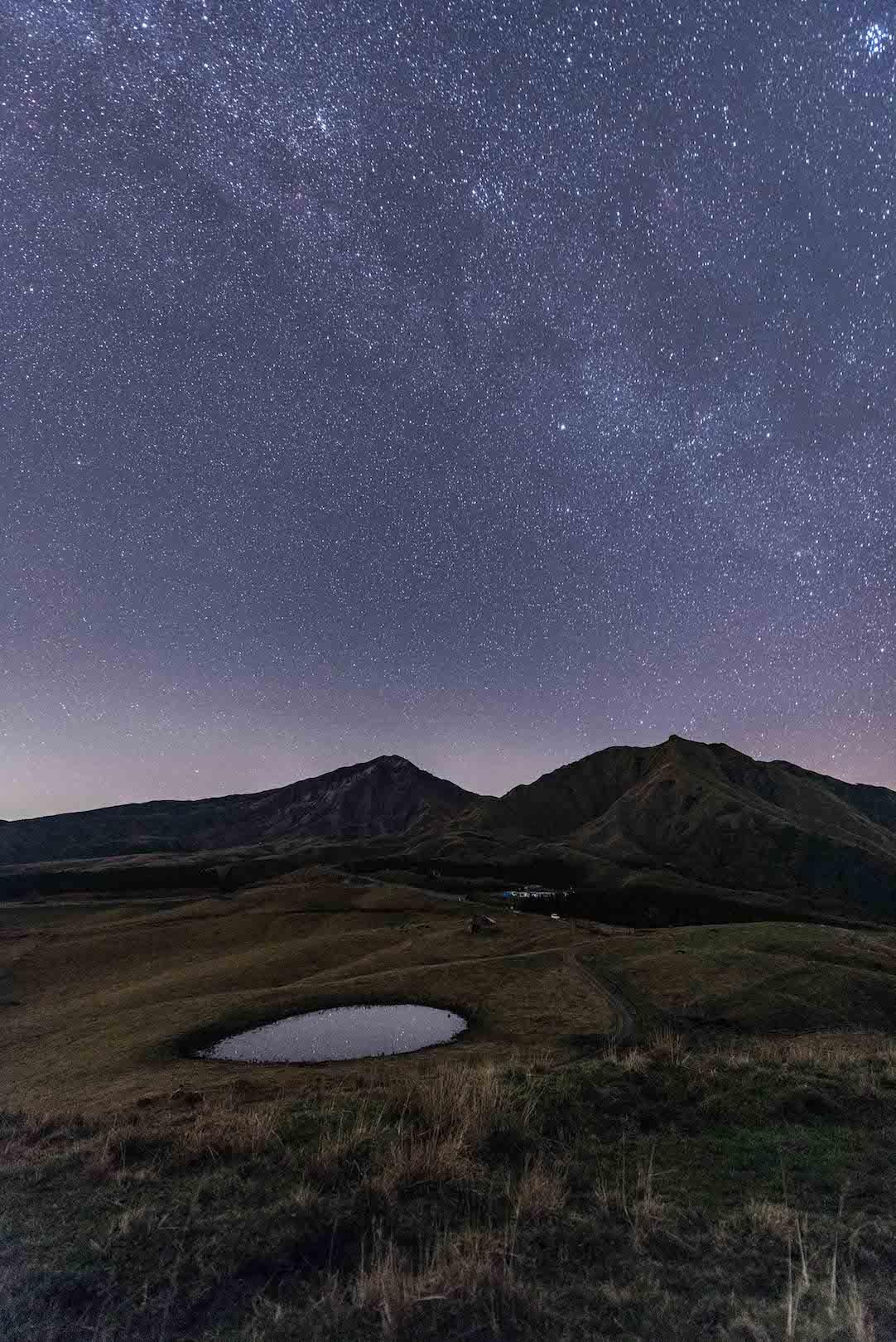 阿蘇山と星空